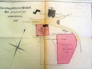 004 Plan new school showing old one