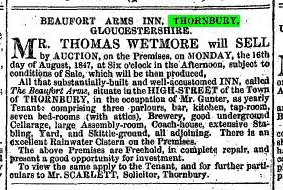 1847 31st July sale of Beaufort Arms occupied by Gunter