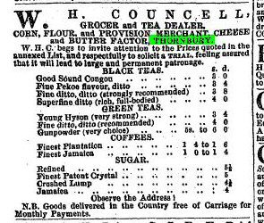1854 3rd June WH Councell advert with prices