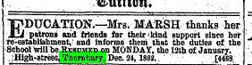 1862 27th Dec Mrs Marsh's school