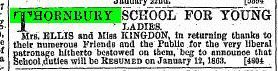 1863 3rd Jan Miss Ellis & Kingdon school