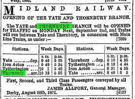 1872 31st July timetable of trains