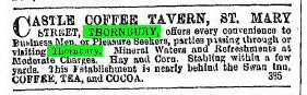 1882 advert for Castle Coffee Tavern