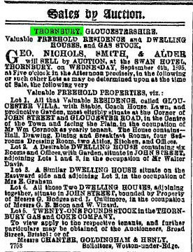 1895 24th august sale of gloucester villa and other SJS props
