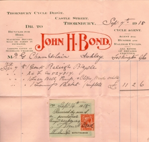 1899 receipt for bicycle JH Bond 1918