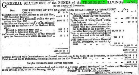 Bank cottage statement 25 Jan 1862