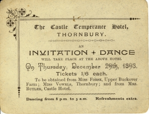 Dance ticket 1898 Castle Temp Hotel