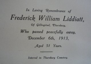 Frederick William Liddiatt memorial card
