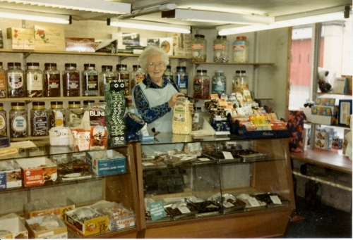 Mrs Fudge in the sweet shop
